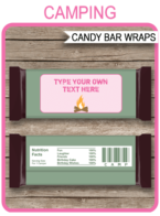 Camping Hershey Candy Bar Wrappers template – pink