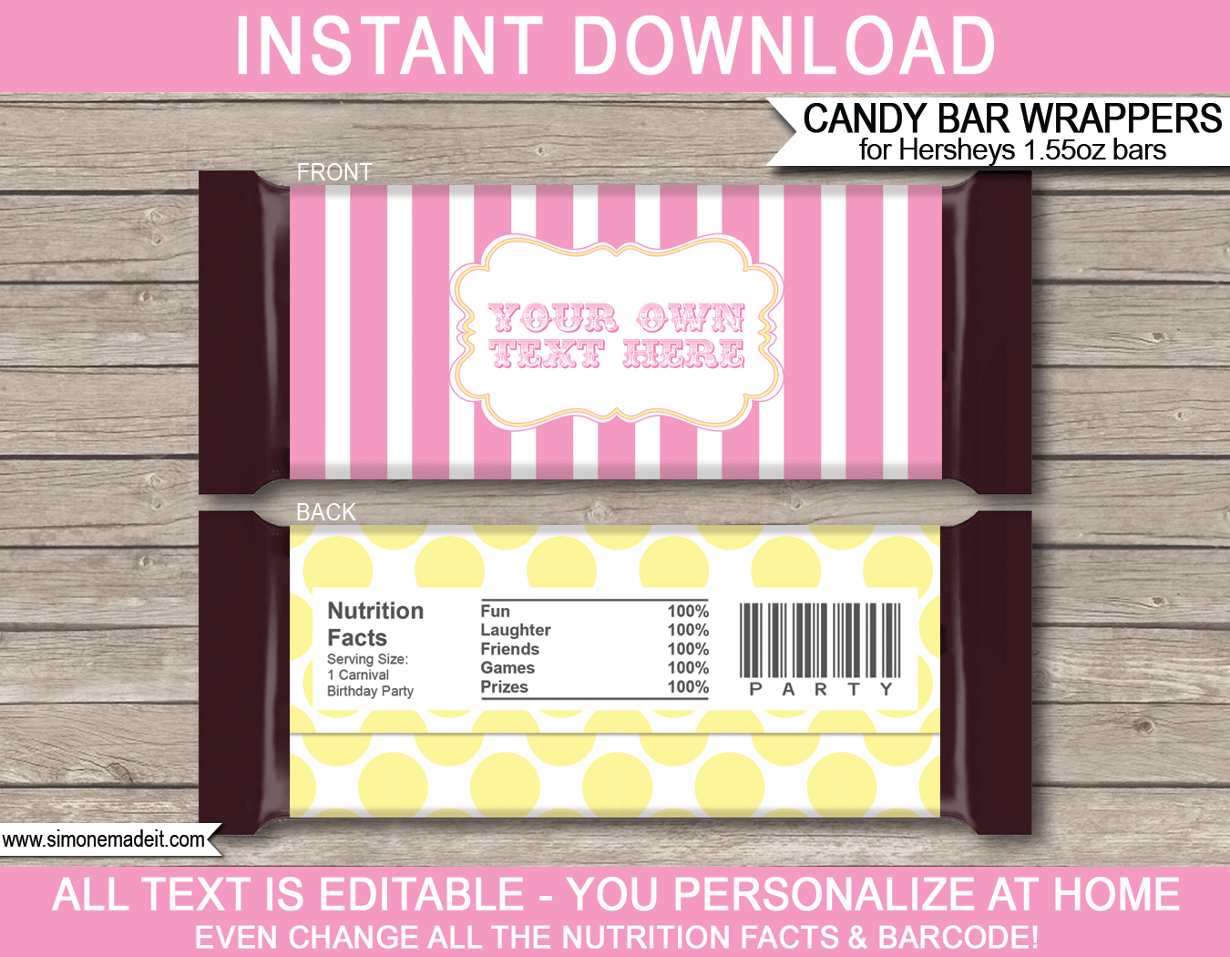 Yellow Carnival Hershey Candy Bar Wrappers | Circus | Pink Yellow | Birthday Party Favors | Personalized Candy Bars | Editable Template | INSTANT DOWNLOAD $3.00 via simonemadeit.com