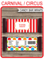 Carnival Hershey Candy Bar Wrappers | Circus | Birthday Party Favors | Personalized Candy Bars | Editable Template | INSTANT DOWNLOAD $3.00 via simonemadeit.com