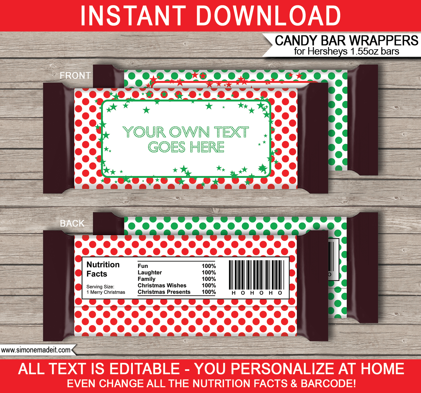 Christmas hershey candy bar wrappers personalized candy bars for Custom candy wrappers templates