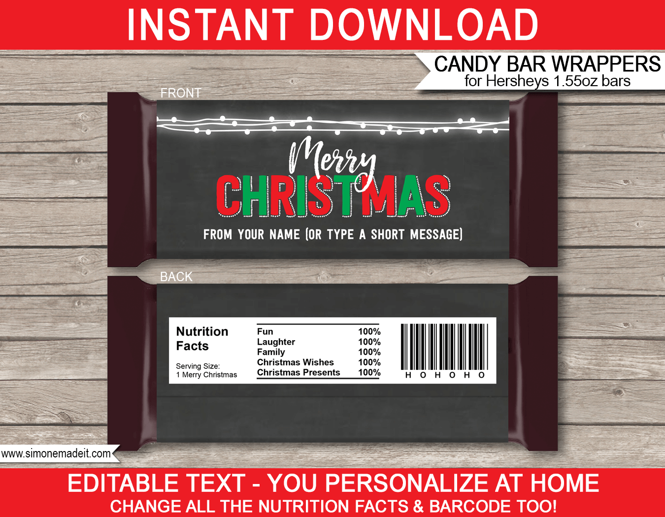 Christmas Chalkboard Candy Bar Wrappers | Hershey 1.55oz Milk Chocolate | Personalized Candy Bars | Editable Template | INSTANT DOWNLOAD $3.00 via simonemadeit.com