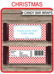 Christmas Candy Bar Wrappers | Red & Blue | Personalized Candy Bars | Hershey Chocolate Bars | Editable Template | INSTANT DOWNLOAD $3.00 via simonemadeit.com