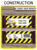 Construction Hershey Candy Bar Wrappers template