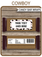 Cowboy Hershey Candy Bar Wrappers | Birthday Party Favors | Personalized Candy Bars | Editable Template | INSTANT DOWNLOAD $3.00 via simonemadeit.com