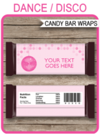 Disco Hershey Candy Bar Wrappers | Pink | Birthday Party Favors | Personalized Candy Bars | Editable Template | INSTANT DOWNLOAD $3.00 via simonemadeit.com