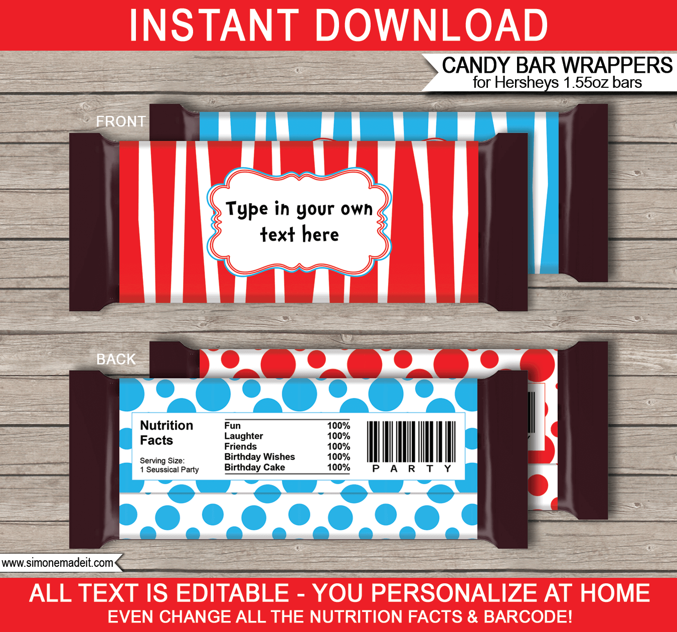Dr Seuss Hershey Candy Bar Wrappers | Birthday Party Favors | Personalized Candy Bars | Editable Template | INSTANT DOWNLOAD $3.00 via simonemadeit.com