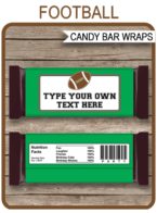 Football Hershey Candy Bar Wrappers | Birthday Party Favors | Personalized Candy Bars | Editable Template | INSTANT DOWNLOAD $3.00 via simonemadeit.com