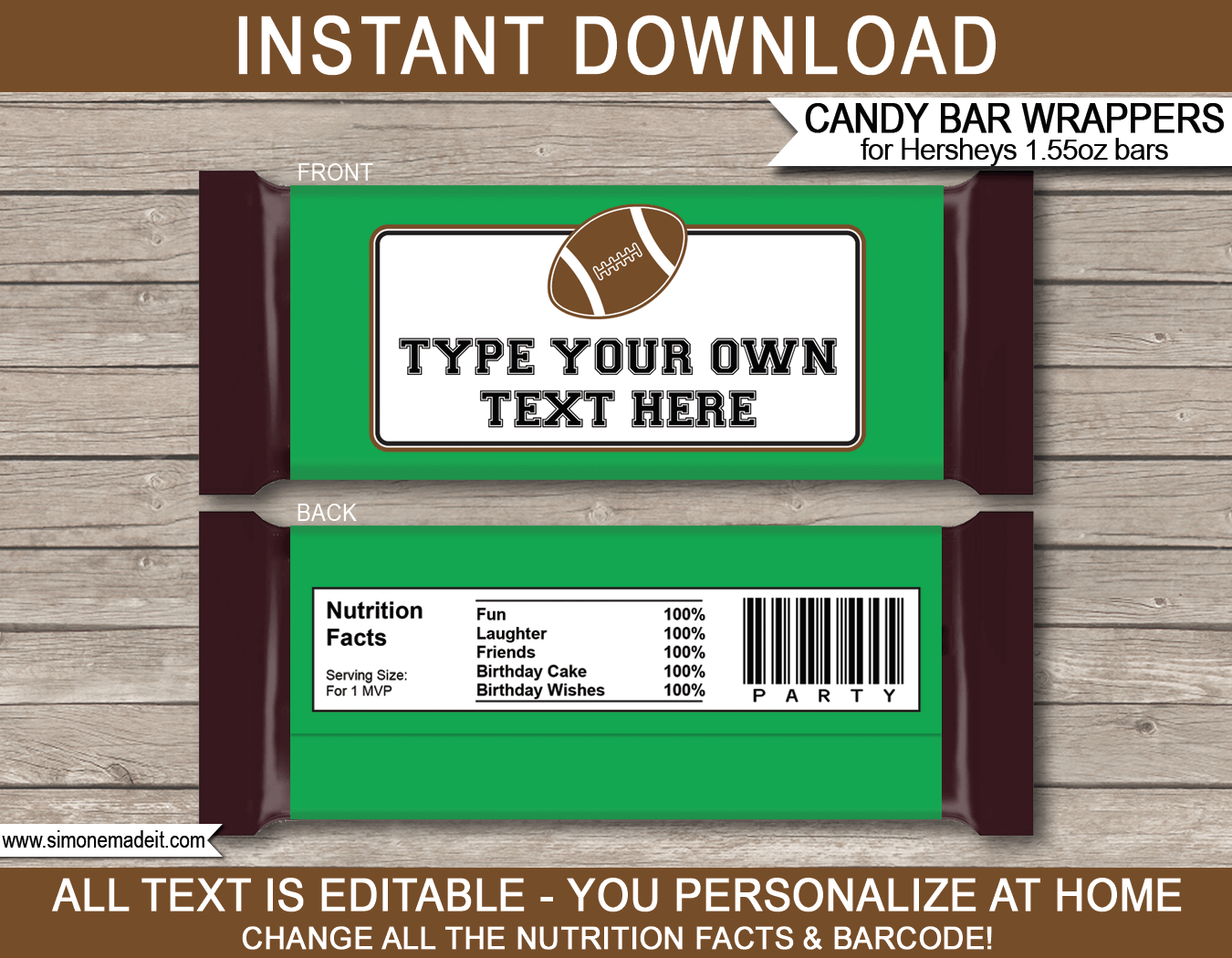 Football hershey candy bar wrappers personalized candy bars football hershey candy bar wrappers template maxwellsz