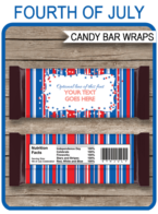 July 4th Hershey Candy Bar Wrappers | July Fourth | Personalized Candy Bars | Editable Template | INSTANT DOWNLOAD $3.00 via simonemadeit.com
