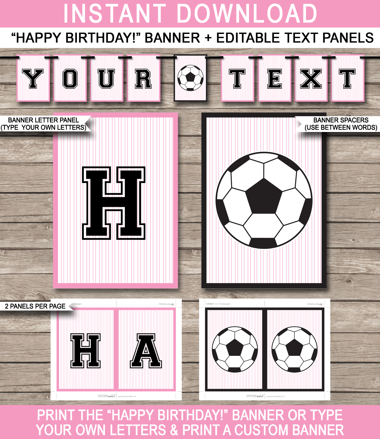 girls soccer party banner template happy birthday pennant banner