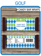 Golf Hershey Candy Bar Wrappers | Par-tee | Blue Green Argyle | Birthday Party Favors | Personalized Candy Bars | Editable Template | INSTANT DOWNLOAD $3.00 via simonemadeit.com