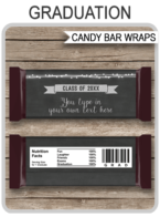 Graduation Hershey Candy Bar Wrappers | Chalkboard & Silver Glitter | Personalized Candy Bars | Editable Template | INSTANT DOWNLOAD $3.00 via simonemadeit.com