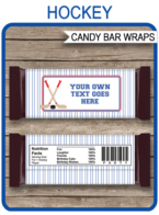 Hockey Hershey Candy Bar Wrappers template – red & blue