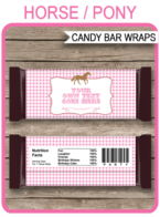Horse Hershey Candy Bar Wrappers template – pink