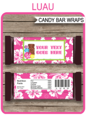 Luau Hershey Candy Bar Wrappers | Birthday Party Favors | Personalized Candy Bars | Editable Template | INSTANT DOWNLOAD $3.00 via simonemadeit.com