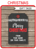 Christmas Chalkboard Gift Tag Templates – red
