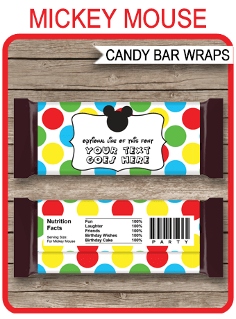 Mickey Mouse Hershey Candy Bar Wrappers Personalized