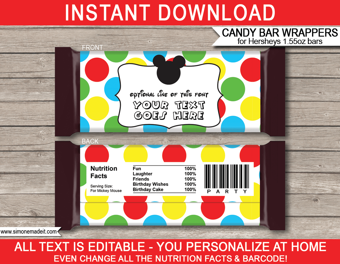 Mickey Mouse Hershey Candy Bar Wrappers | Birthday Party Favors | Personalized Candy Bars | Editable Template | INSTANT DOWNLOAD $3.00 via simonemadeit.com