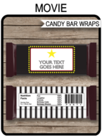 Movie Hershey Candy Bar Wrappers | Movie Night | Birthday Party Favors | Personalized Candy Bars | Editable Template | INSTANT DOWNLOAD $3.00 via simonemadeit.com