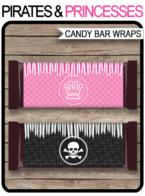 Pirates & Princesses Hershey Candy Bar Wrappers | Birthday Party Favors | Personalized Candy Bars | Editable Template | INSTANT DOWNLOAD $3.00 via simonemadeit.com