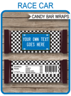 Race Car Hershey Candy Bar Wrappers template – blue
