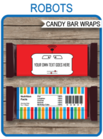 Robot Hershey Candy Bar Wrappers template