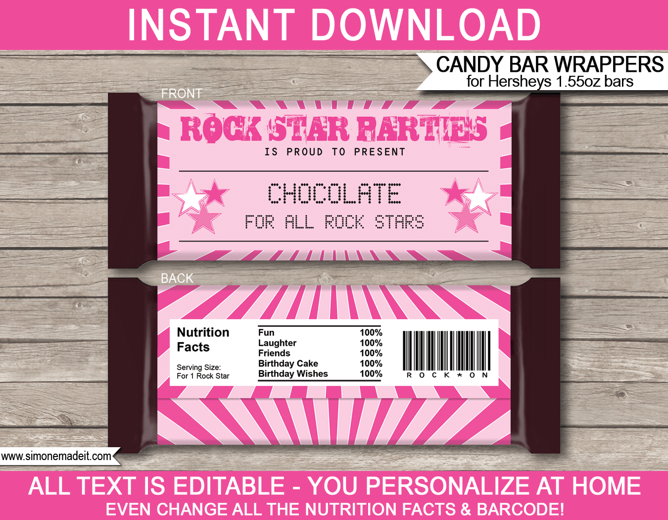 rockstar hershey candy bar wrappers