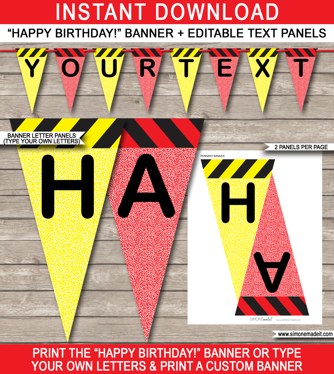 Science Party Banner Template - Happy Birthday Bunting Pennants - Editable and Printable DIY Template - INSTANT DOWNLOAD $4.50 via simonemadeit.com