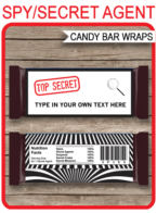 Spy or Secret Agent Hershey Candy Bar Wrappers | Birthday Party Favors | Personalized Candy Bars | Editable Template | INSTANT DOWNLOAD $3.00 via simonemadeit.com