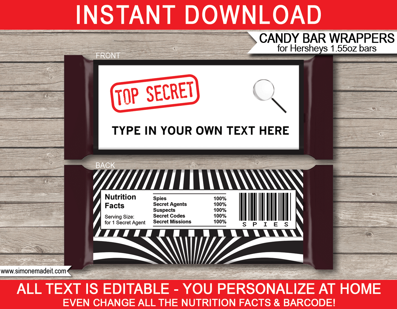Spy or Secret Agent Hershey Candy Bar Wrappers | Birthday Party Favors | Personalized Candy Bars | Editable Text Template | INSTANT DOWNLOAD $3.00 via simonemadeit.com