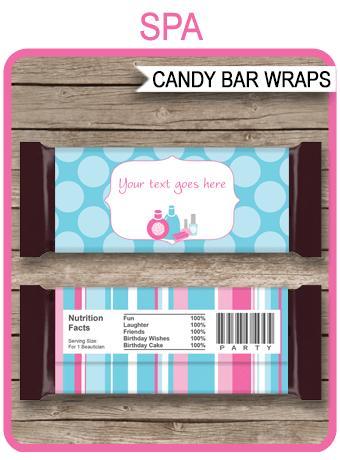 spa party hershey candy bar wrappers personalized candy bars. Black Bedroom Furniture Sets. Home Design Ideas