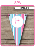 Girls Birthday Party Banner Template - Happy Birthday Bunting Pennants - Editable and Printable DIY Template - INSTANT DOWNLOAD $4.50 via simonemadeit.com