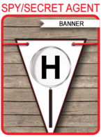 Spy Party Banner Template - Happy Birthday Bunting Pennants - Secret Agent - Editable and Printable DIY Template - INSTANT DOWNLOAD $4.50 via simonemadeit.com