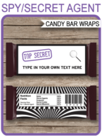 Secret Agent or Spy Hershey Candy Bar Wrappers | Birthday Party Favors | Personalized Candy Bars | Editable Template | INSTANT DOWNLOAD $3.00 via simonemadeit.com