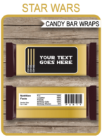 Star Wars Hershey Candy Bar Wrappers template – gold
