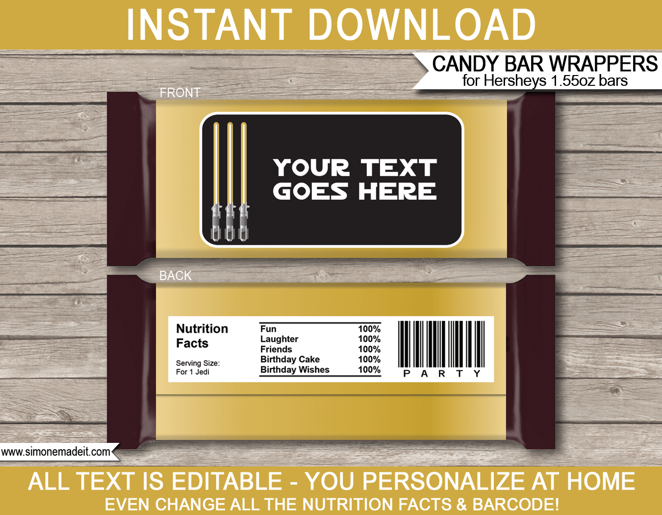 Gold star wars party hershey candy bar wrappers hershey labels gold star wars party hershey candy bar wrappers birthday party favors personalized candy bars maxwellsz
