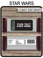 Printable Star Wars Hershey Candy Bar Wrappers Template | Birthday Party Favors | Personalized Candy Bars | DIY Editable Text | INSTANT DOWNLOAD $3.00 via simonemadeit.com