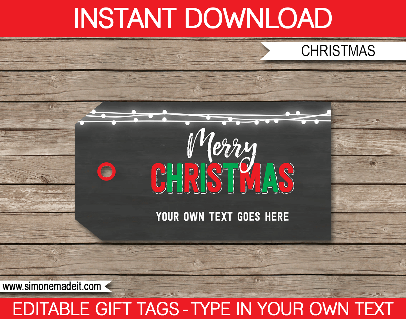 Christmas Chalkboard Gift Tag Template | editable & printable | Merry Christmas | INSTANT DOWNLOAD $3.00 via simonemadeit.com