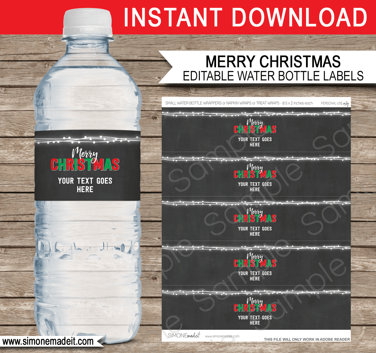 christmas water bottle labels template christmas decorations