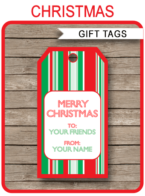 Christmas Gift Tags Template – red & green