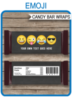 Emoji Theme Candy Bar Wrappers template – boys