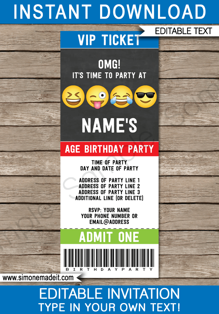 Emoji Theme Party Ticket Invitations Template for boys | Emoji Theme Birthday Party | DIY Editable & Printable Invite | INSTANT DOWNLOAD via simonemadeit.com