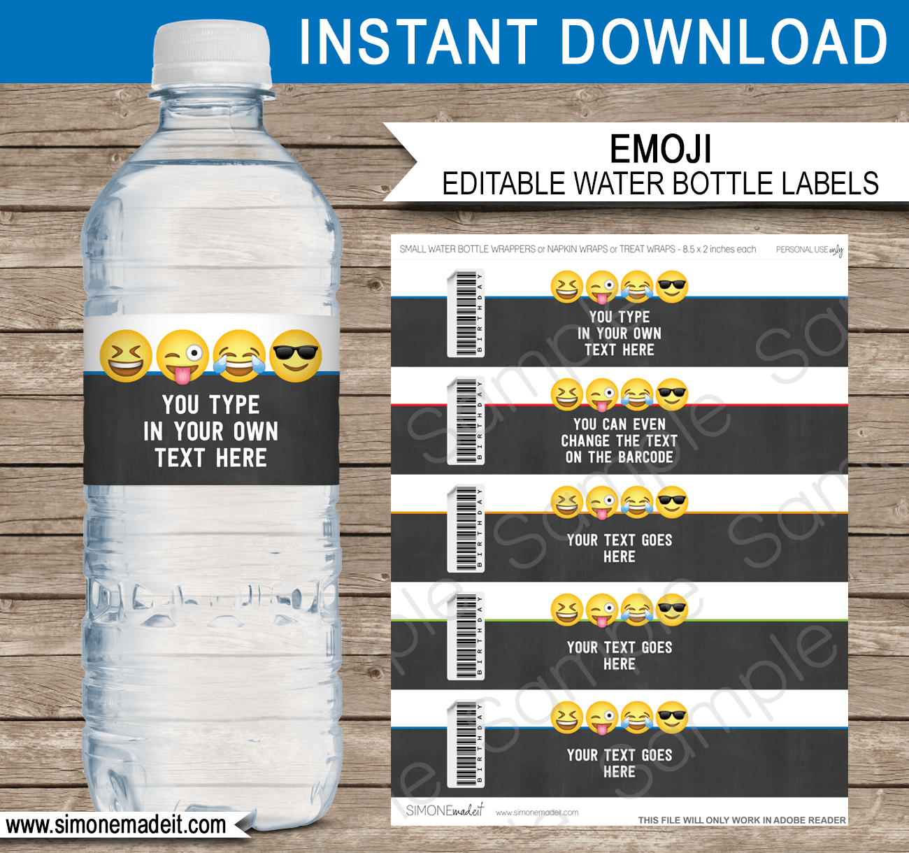 Emoji theme water bottle labels template boys emoji theme water bottle labels template for boys emoji birthday party napkin wraps maxwellsz