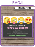 Emoji Party Invitations template – girls