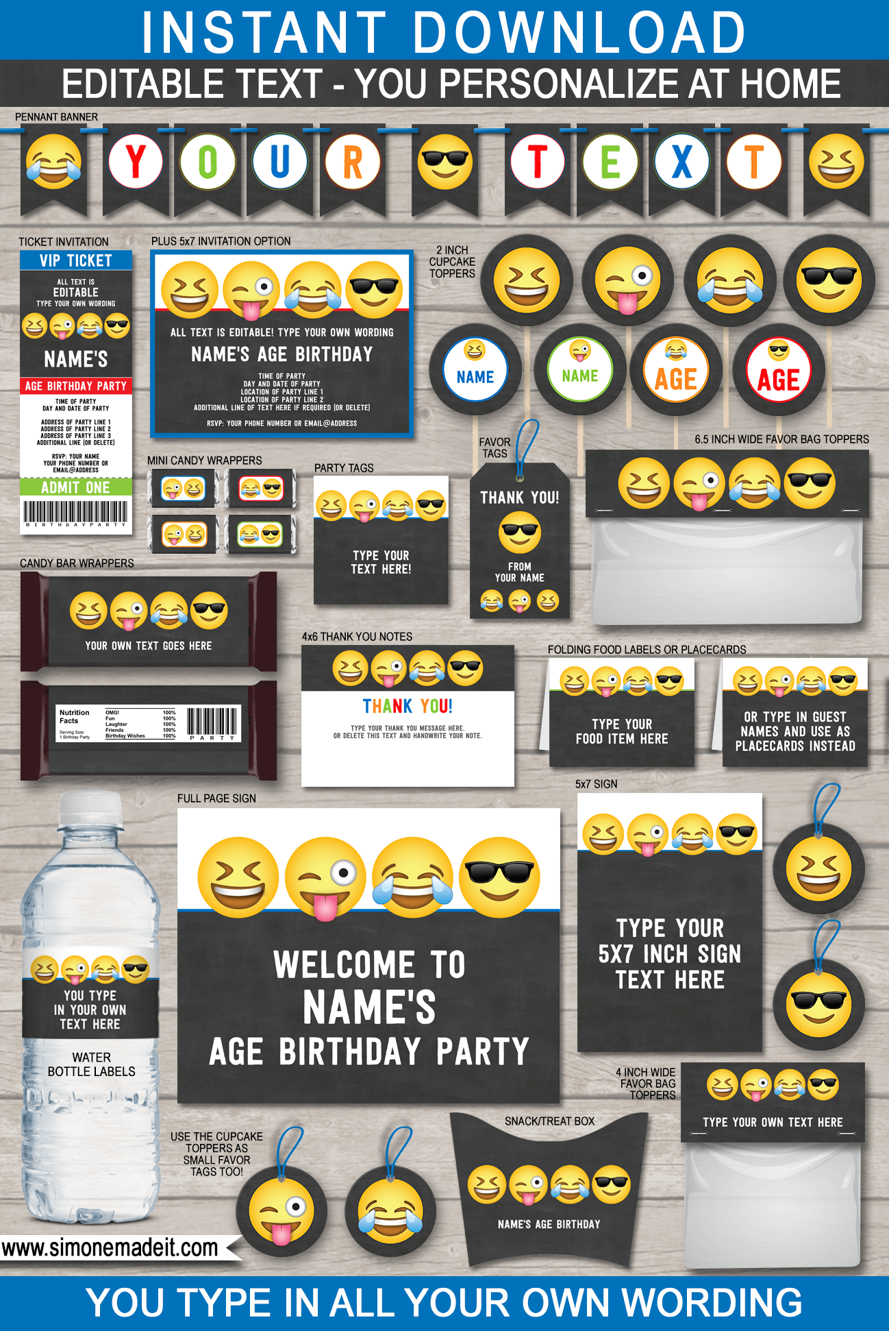 Emoji Theme Party Printables, Invitations & Decorations for Boys | Emoji Theme Birthday Party | DIY Editable Templates | INSTANT DOWNLOAD via simonemadeit.com