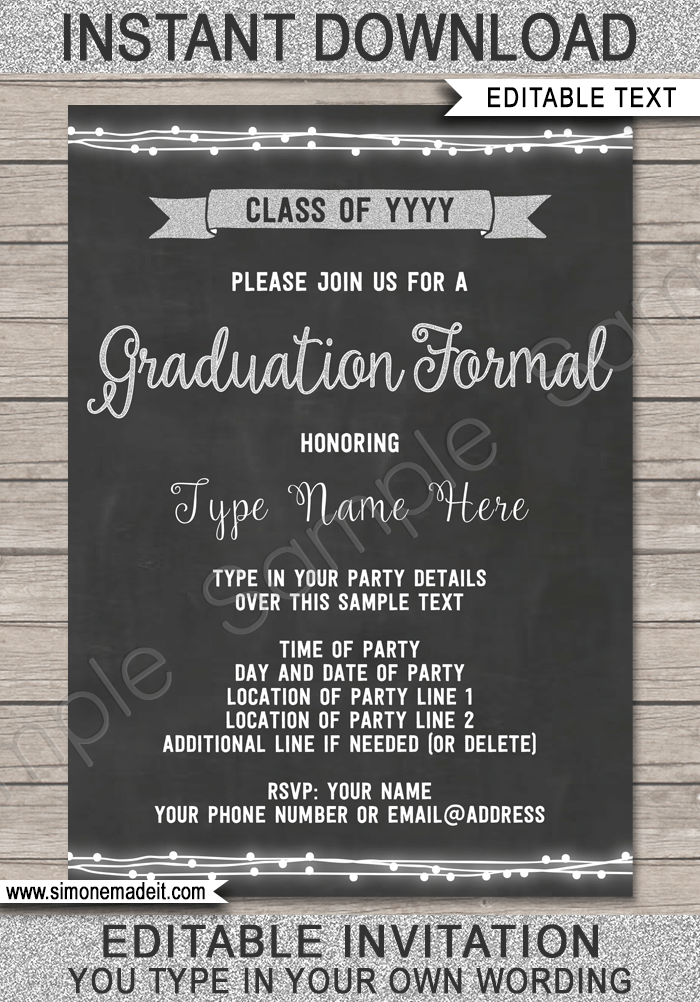 Graduation Formal Invitation Template U2013 Silver  Prom Ticket Template