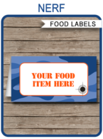 Nerf Party Food Labels template – blue camo