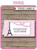 Paris Party Food Labels | Food Buffet Cards | Place Cards |Printable Party Decorations | DIY Editable template | $3.00 Instant Download via simonemadeit.com