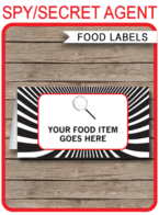 Spy Party Food Labels template