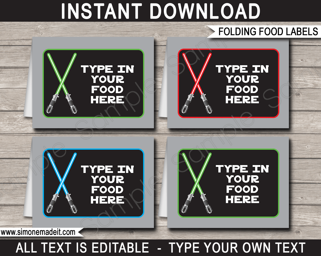 picture regarding Star Wars Printable Cards called Star Wars Social gathering Food stuff Labels template